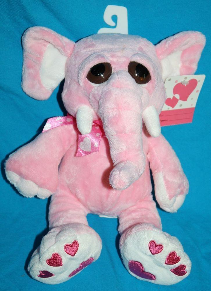 Walmart Pink Elephant Big Brown Eye Hearts Plush Stuffed Soft Toy 11