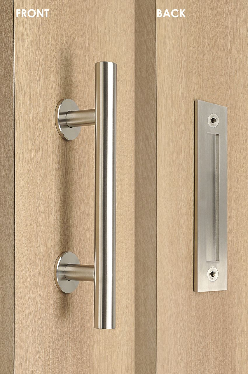 Barn Door Pull And Flush Tubular Door Handle Set Brushed Satin
