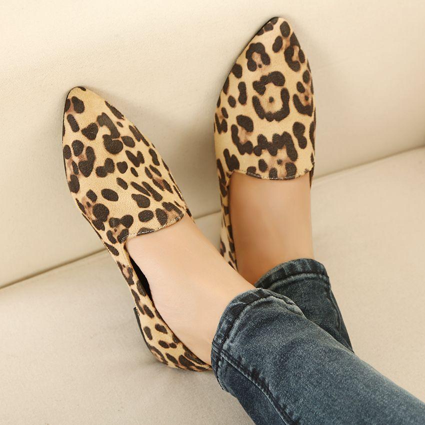 Womens Lady Leopard Ballet Pointy Toe Flat Heel Ballerina Slip On Shoes  Plus Sz