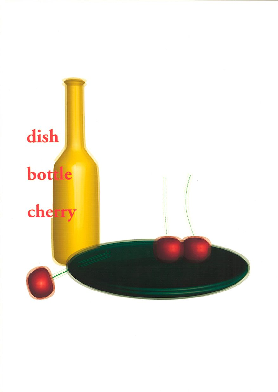 stilllife:dish bottle cherry