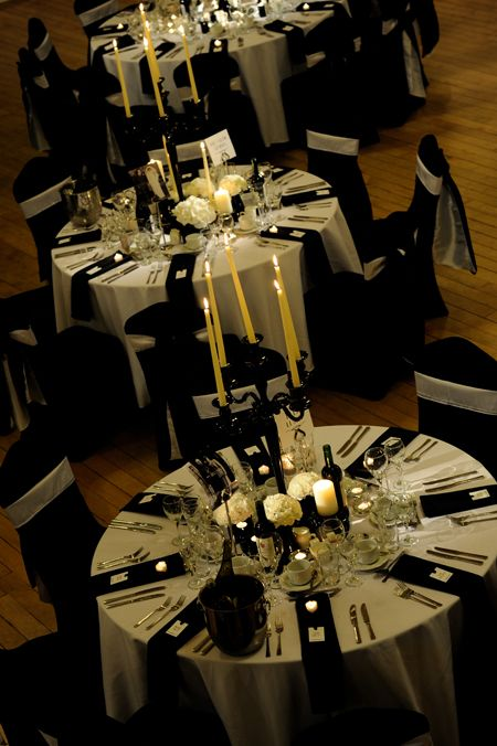 Classic black & white...  To read the blog:  http://thebowdonrooms.co.uk/kilts-candelabras-a-black-tie-affair