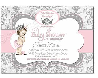vintage princess baby shower clip art girl baby shower invitation 5x7 vintage baby