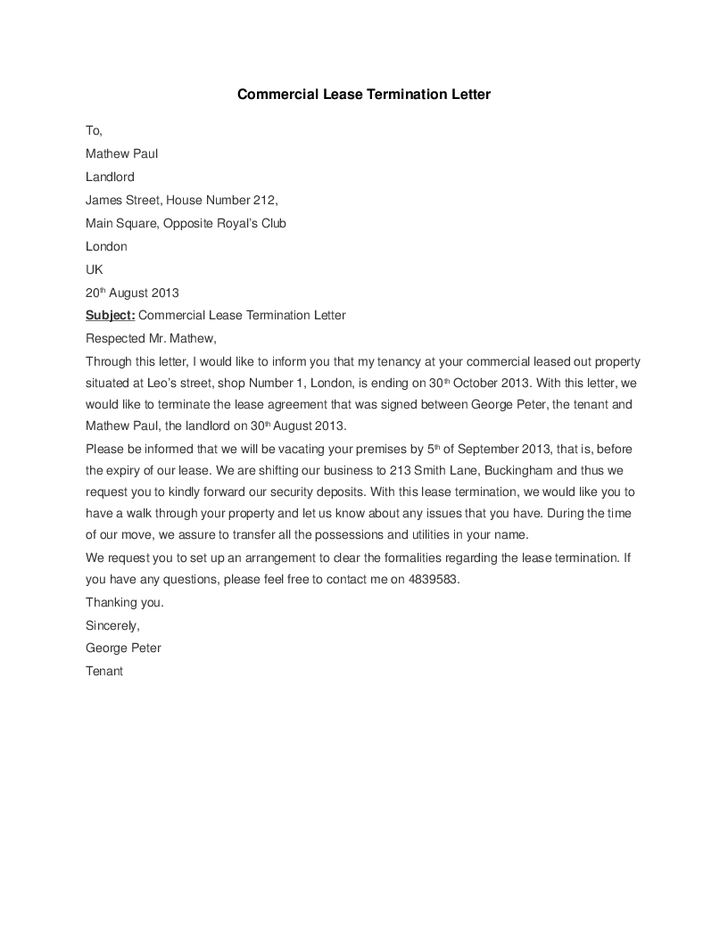 5+ Commercial Lease Termination Letter Templates - Word ...