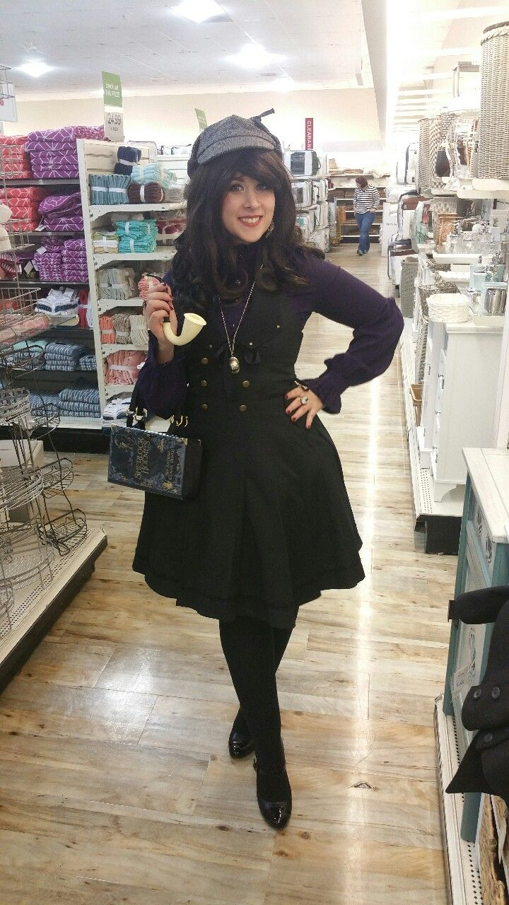 Killing time in HomeGoods before the Sherlock Christmas Special airs in theaters!  I am SO READY!  Jsk: Innocent World Blouse: 69th department Coat: Fan + Friend Bee rings: Etsy Deerstalker Necklace: Etsy Book Purse: Etsy Violin and Gun Earrings: Etsy Deerstalker: Amazon
