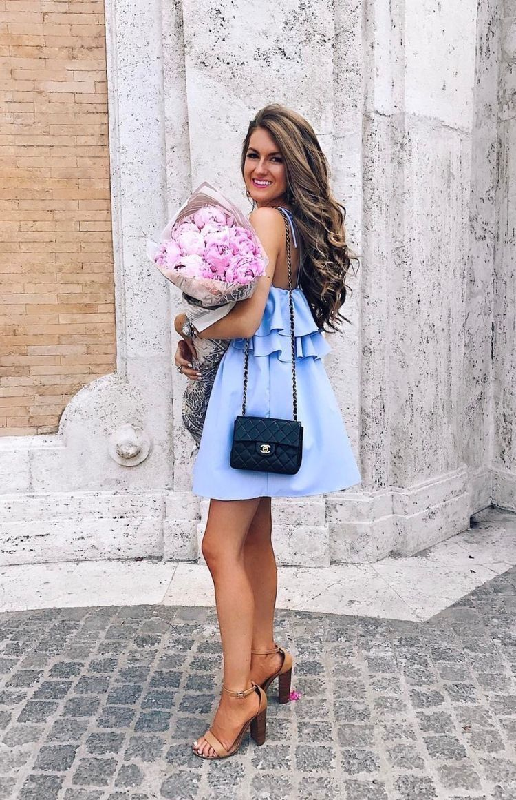 Light blue dress.