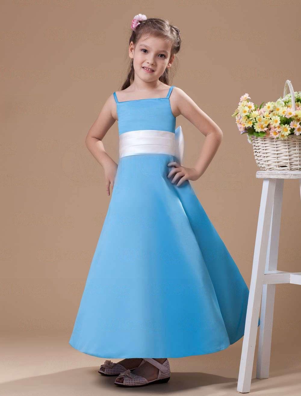 Blue Spaghetti Sash Bow Satin Flower Girl Dress - Party Dresses ...