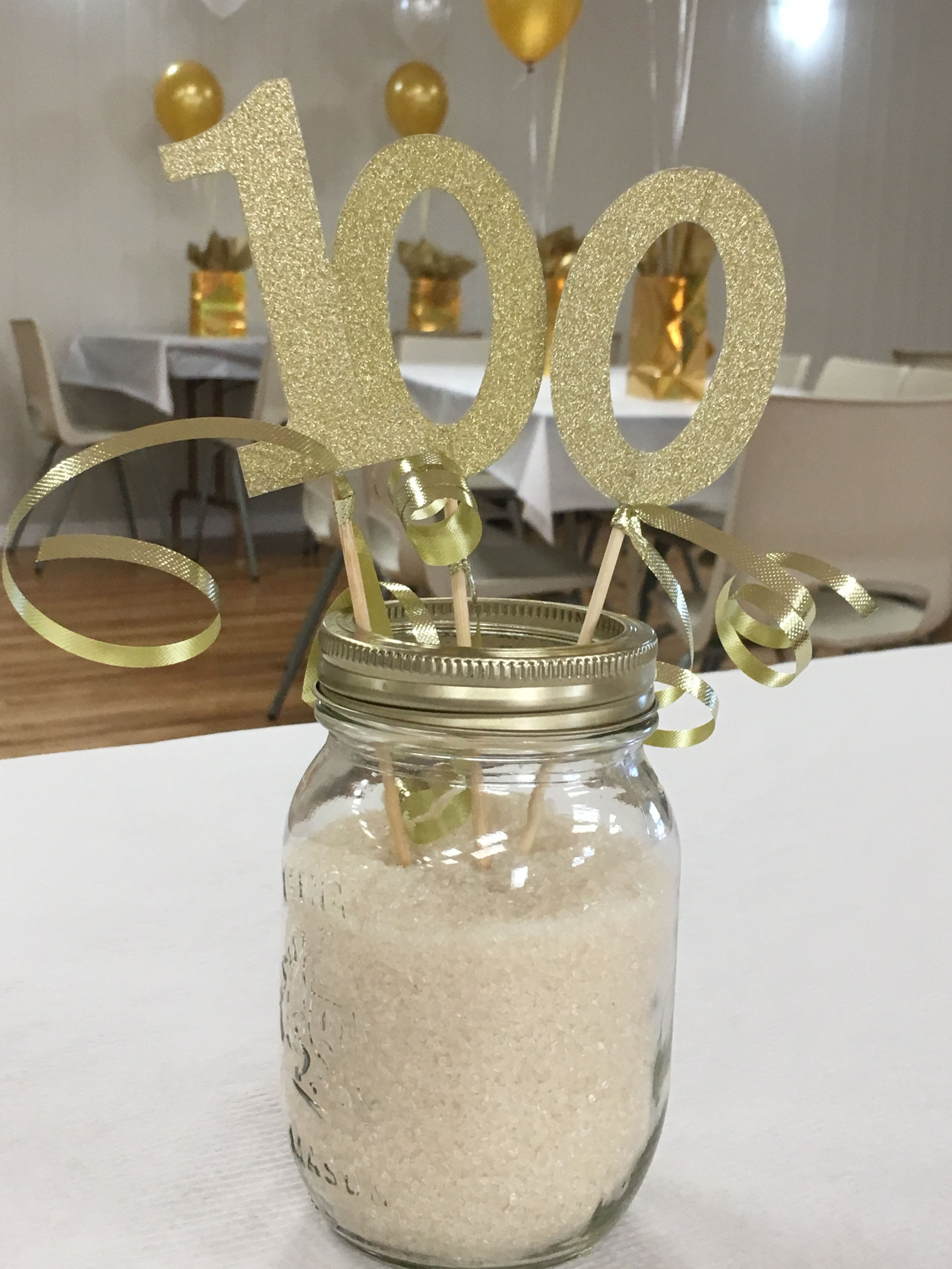 Mason Jars Filled With Sugar And Glittery Numbers Ribbon Perfect Additi 100th Birthday Party 100th Birthday Party Decorations 90th Birthday Party Decorations