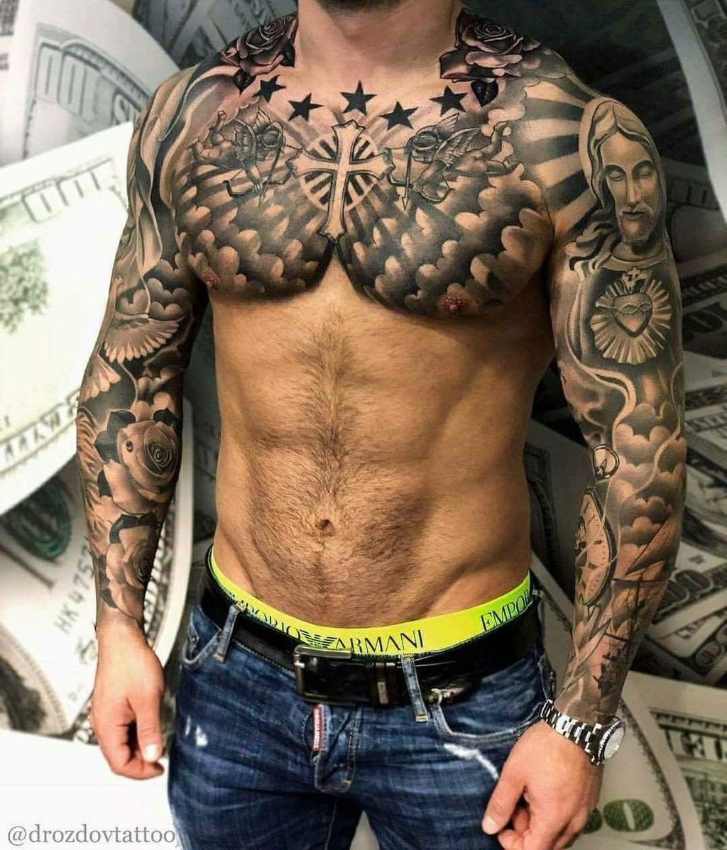Men Chest And Upper Sleeve With Nice Flowers Tattoo: Pin On Accessories