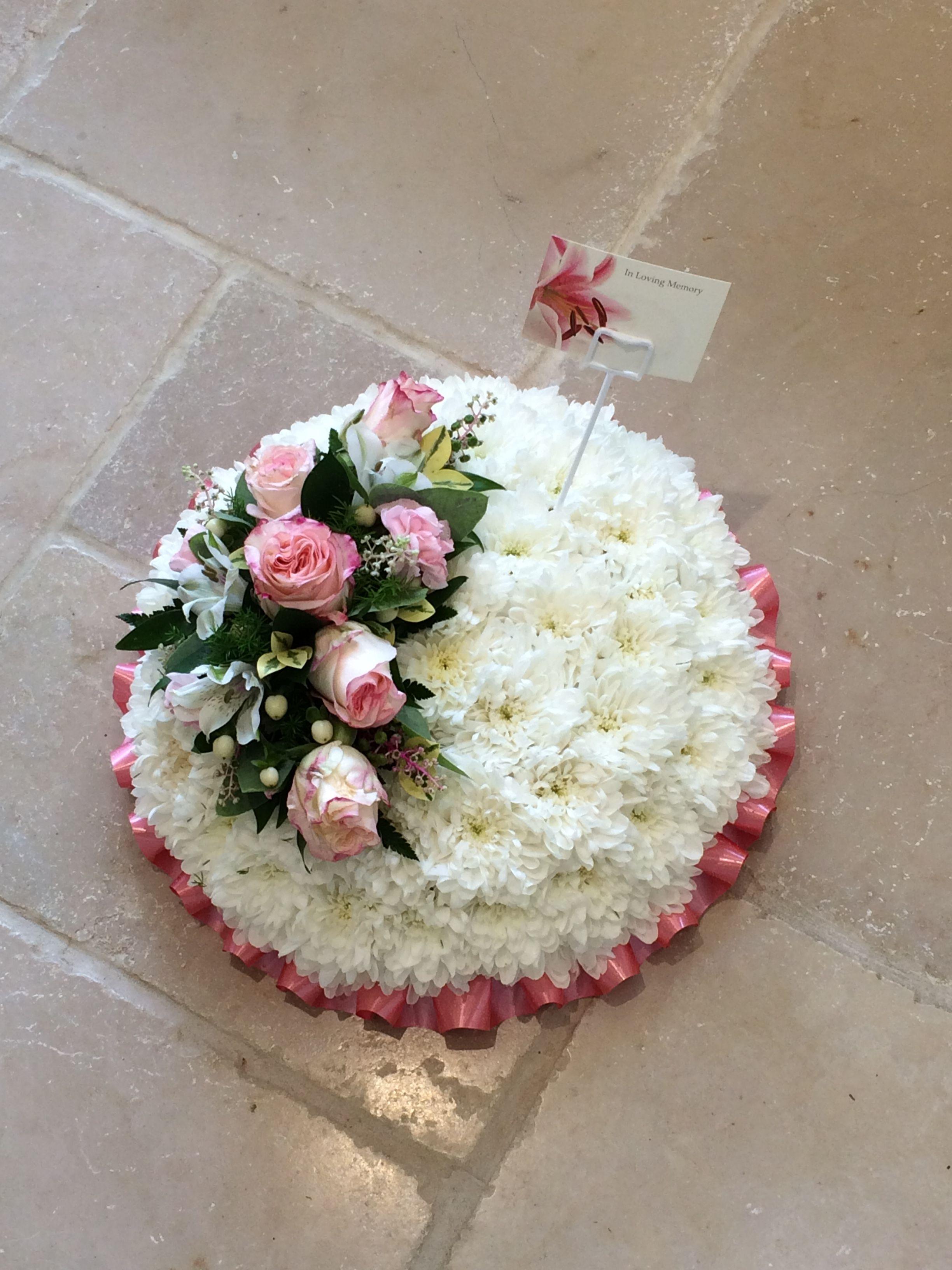 Simply beautiful funeral posy tribute White chrysanthemum based