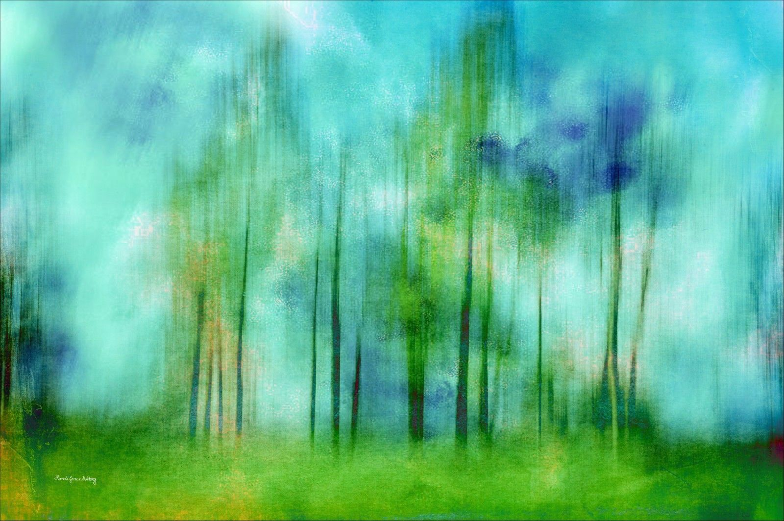 """The wonderful season of summer! I moved the camera when I took this photo to get the lines of the trees rather than the true contours.  I also added a texture to make the photo even more abstract.   This photo looks good next to my """"Summer Dream"""".  Signed and numbered prints from limited edition are available for purchase directly from the artist."""