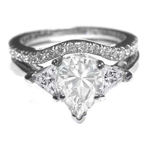 Engagement Ring - Pear Shape with Trillion Diamonds Engagement Ring Like Real Housewife Bethany Frankel