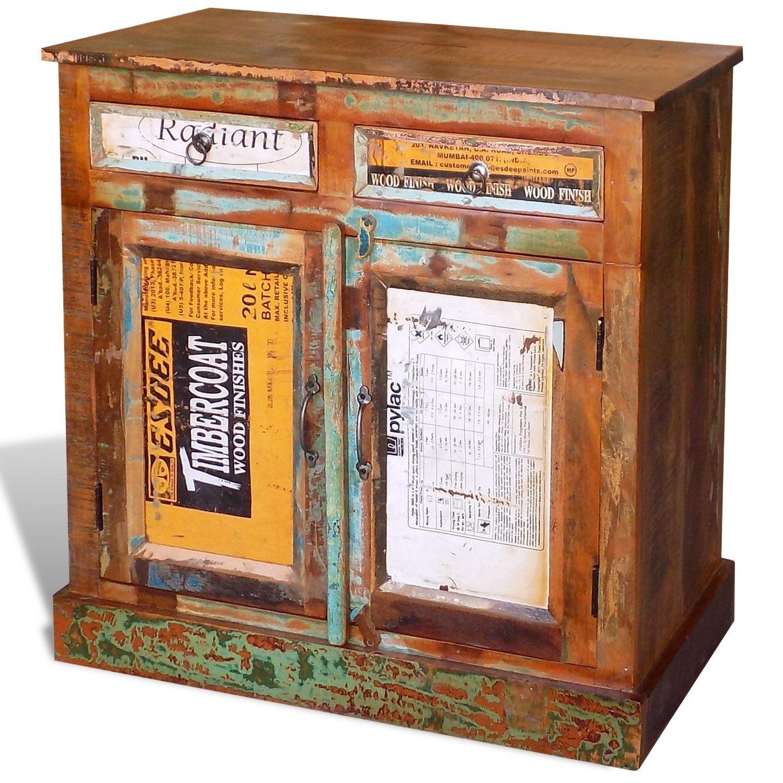 Antik Teak Landhaus Vintage Retro Massiv Echtholz Kommode Sideboard