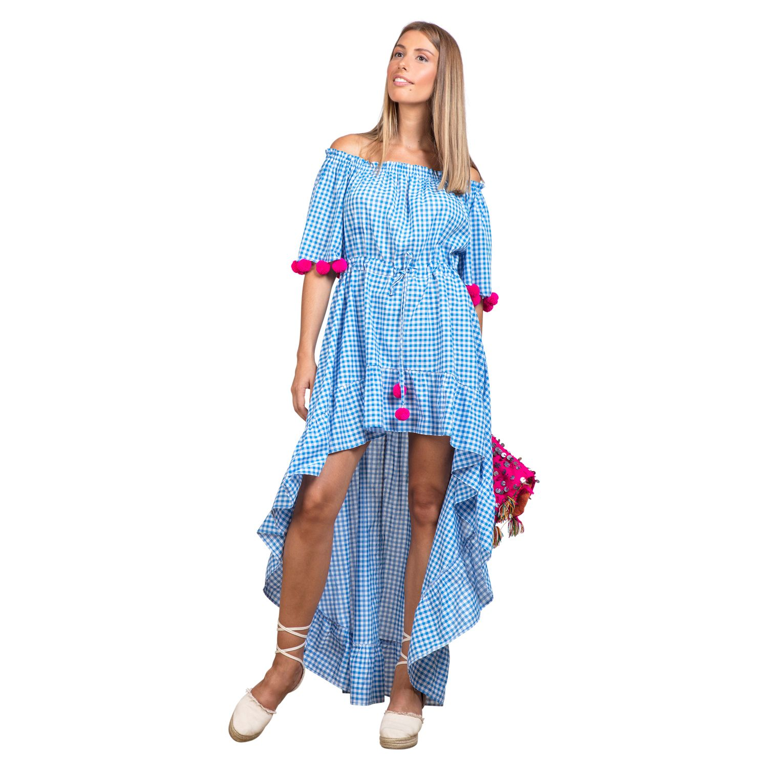 1f765d4b08b Our Alena Light Blue Gingham Dress from Sundress is perfect for your winter  getaways! This chic midi dress features a hi low ruffled hem