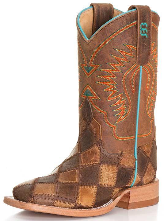 d8da54bd427 Anderson Bean Kid's Crazy Train Patchwork Cowboy Boots - Honey ...