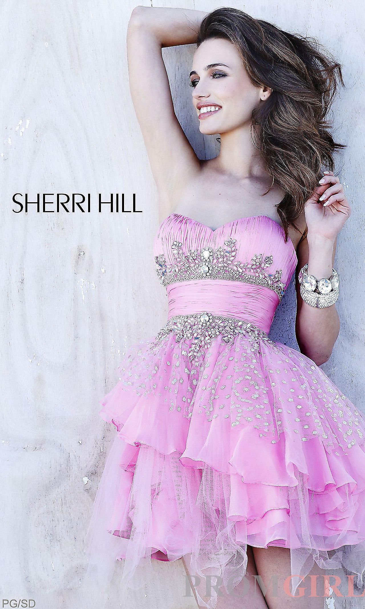 Strapless Prom Dress, Sherri Hill Short Prom Dress-PromGirl ...