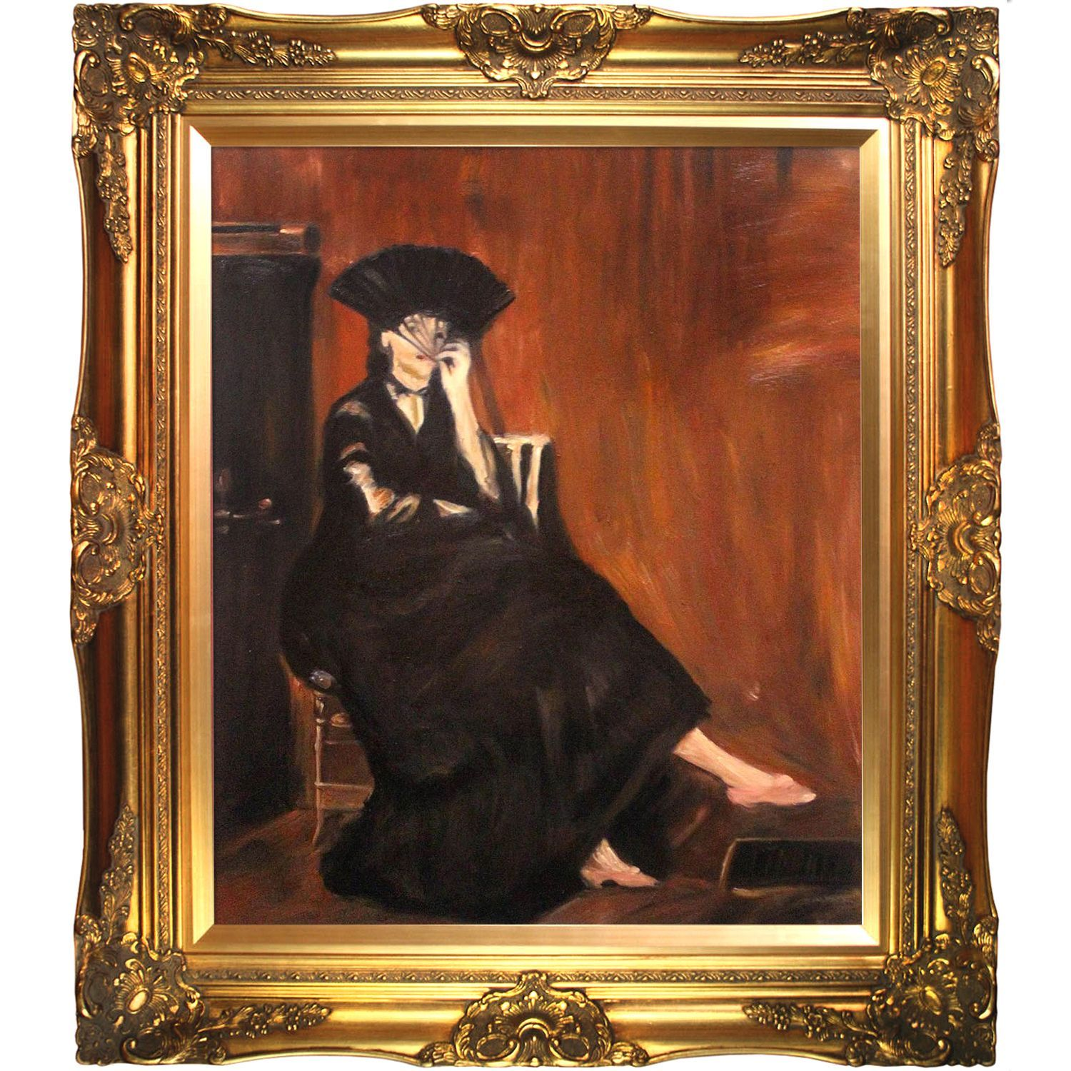 Edouard Manet \'Berthe Morisot with a Fan\' Hand-painted Framed Canvas ...
