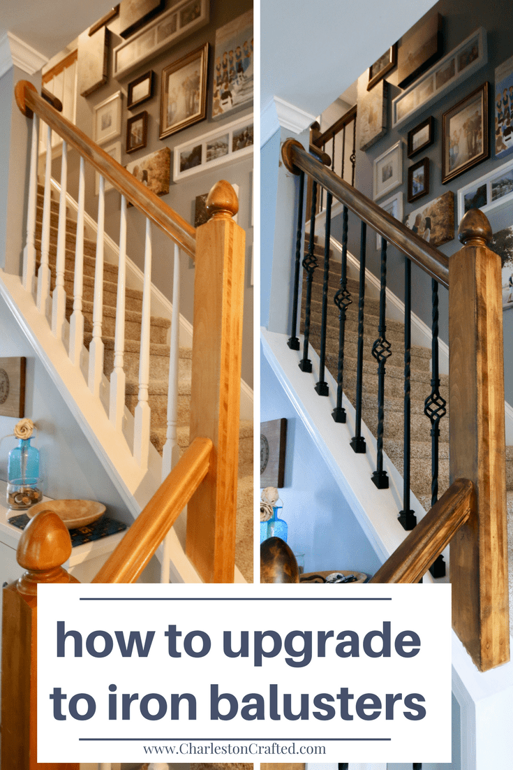 How To Replace Wooden Balusters With Iron The Easy And Cheap Way Home Remodeling Diy Stair Railing Makeover Diy Remodel