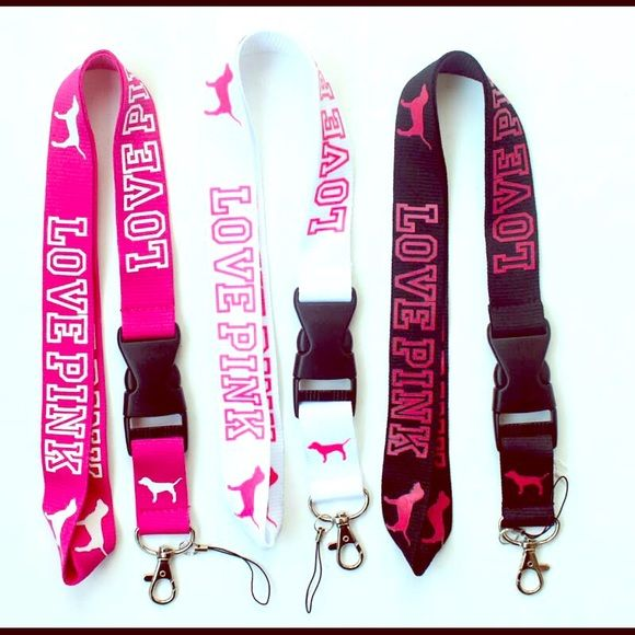 LOVE PINK /'VS/' LANYARD ID Badge Key ChainPick Your Colors!