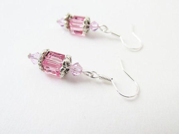 Pink Cube Earrings  Swarovski Elements Crystal by CrystalGirlz, $12.00