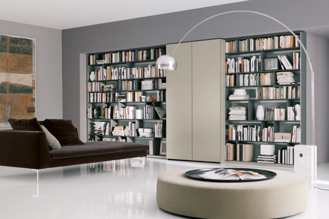 Modern Home Library Design With Beautiful Bookshelf Ideas And A Brown Sofa  Bed Also A Stunning