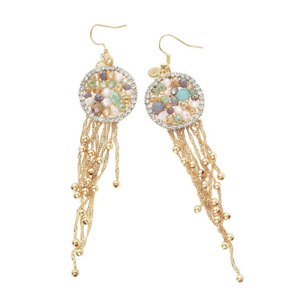 Boucles d'oreilles perles de cristal et strass . Ottaviani
