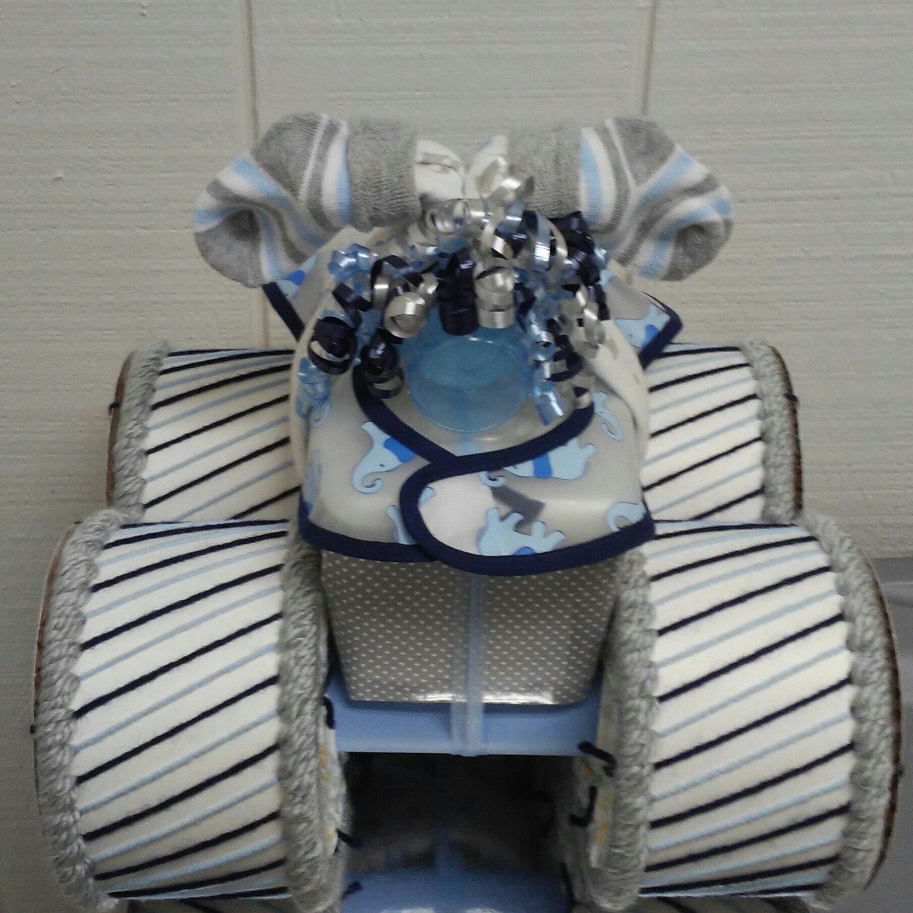 Navy blue light blue and grey elephant baby boy shower decor navy blue light blue and grey elephant baby boy shower decor four wheeler diaper cake table centerpiece creative baby gift negle Choice Image