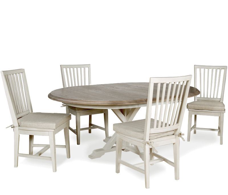 Hyannis 5 Piece Dining Set With Washed Linen Chairs   5 Piece Dining Set