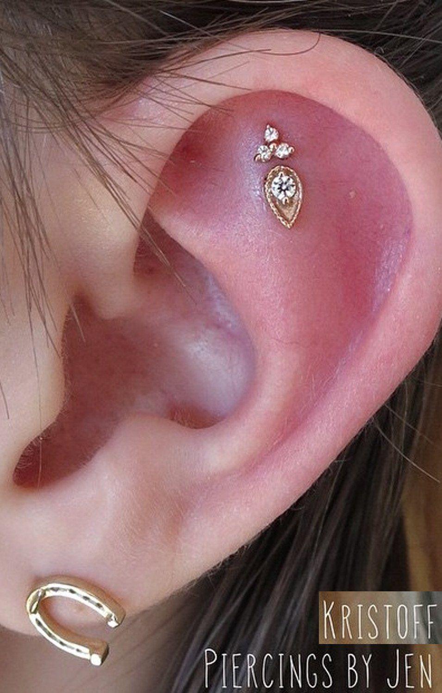 Beautiful Simple Ear Piercing Ideas At Mybodiart  Constellation  Piercing  Cartilage Helix Flower