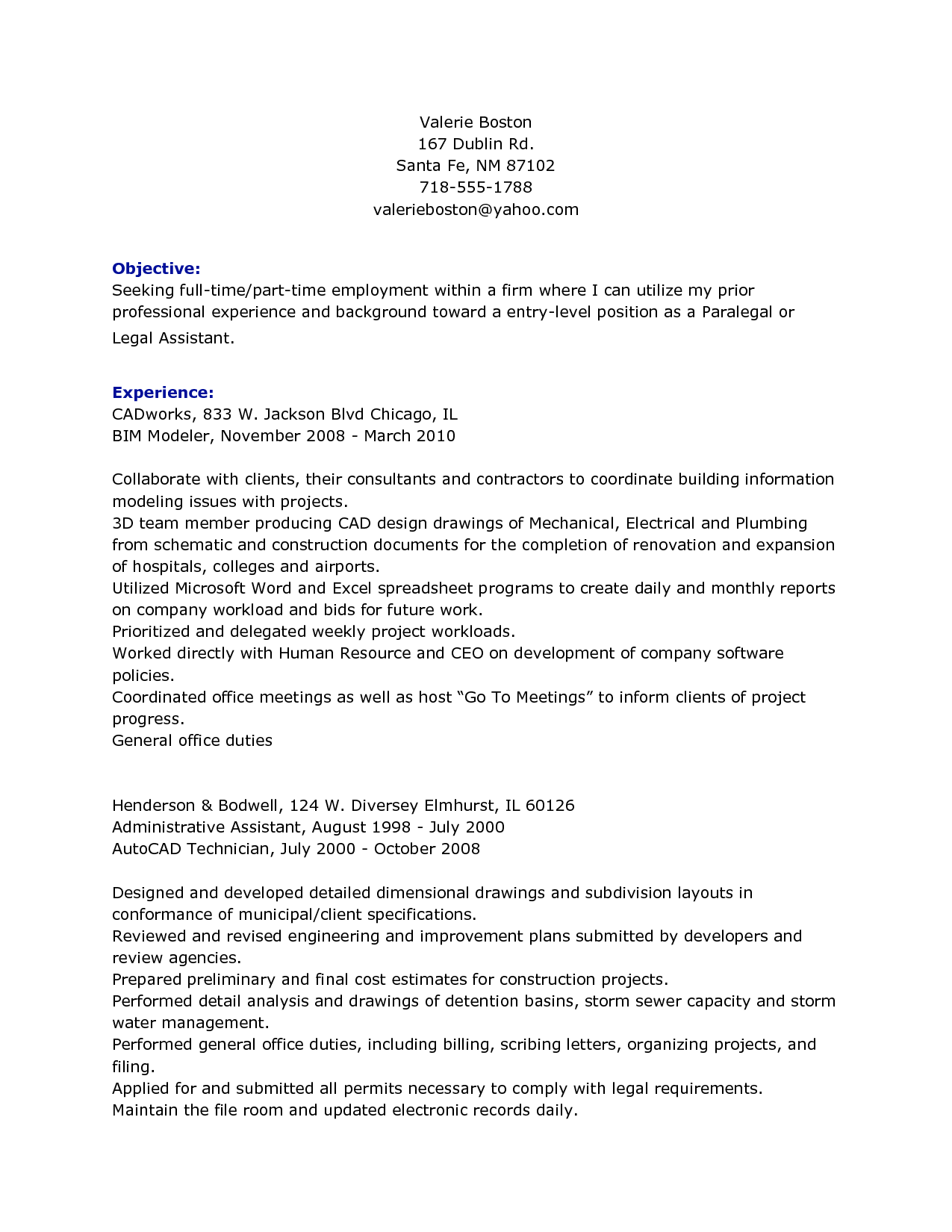 resume self description