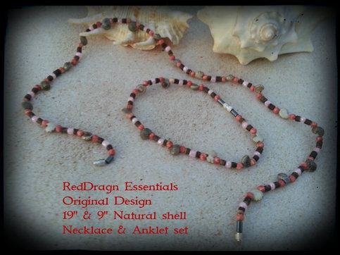 """RedDragn Essentials Original Design by Kari  19"""" & 9"""" Natural Shell  Necklace & Anklet set"""