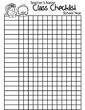 Class List Template Class List School List Classroom Checklist