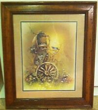 Vintage Home Interior Homco Framed Picture Mailbox Blue Bird Nest Wagon Wheel