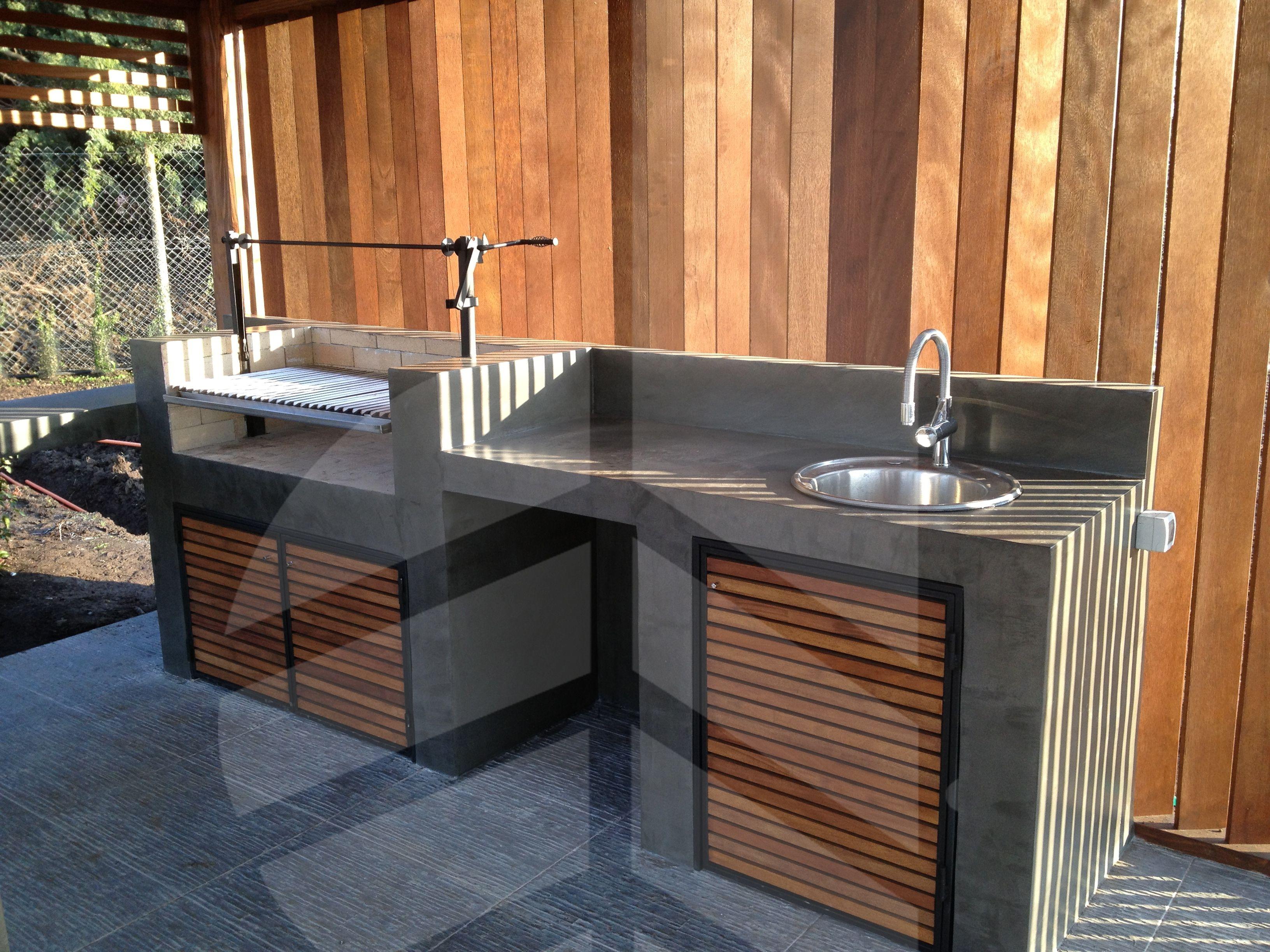 detalle de quincho en terraza con cortavista ni os y casa pinterest outdoor k che garten. Black Bedroom Furniture Sets. Home Design Ideas
