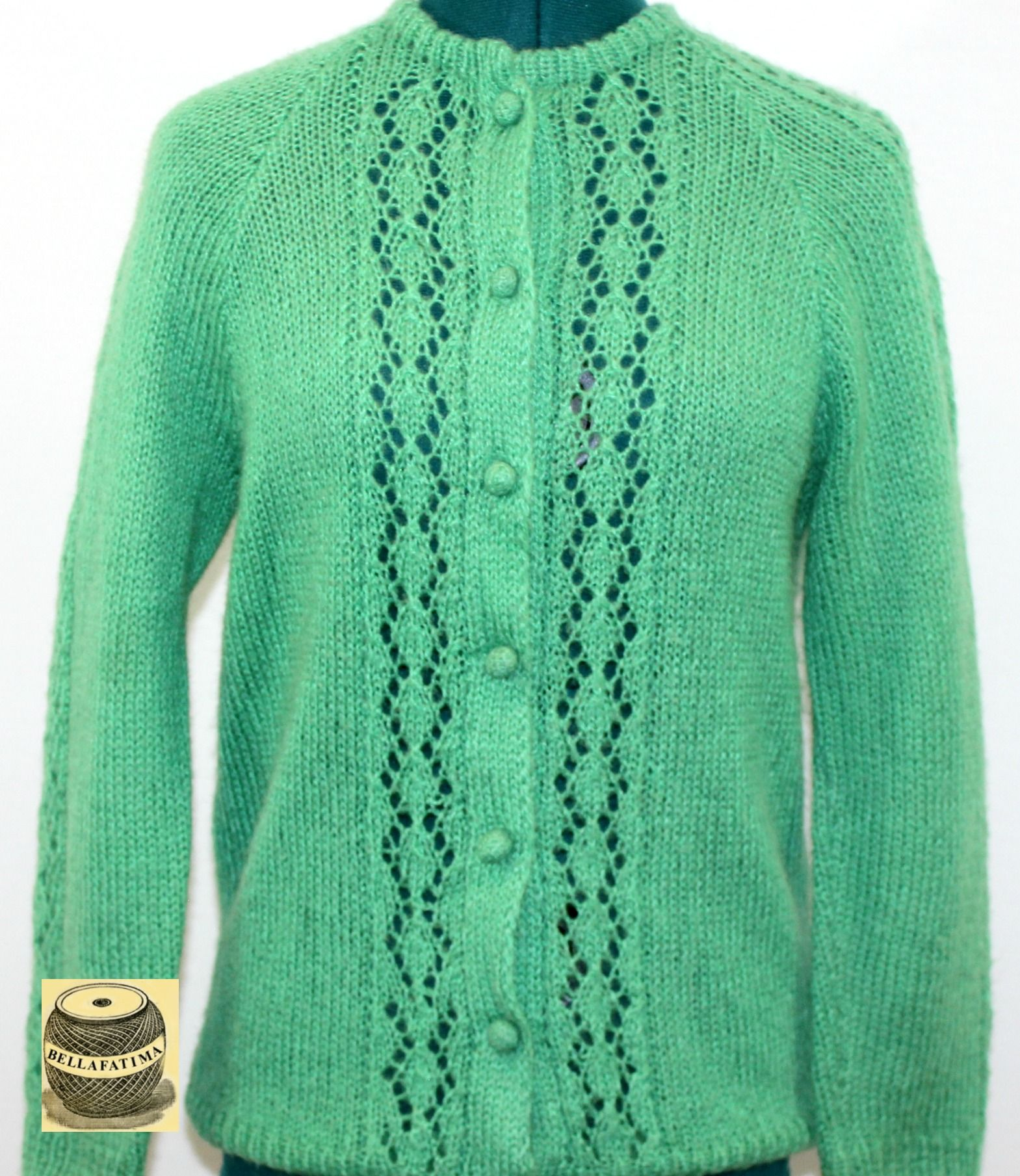 Bright Green Cardigan Sweater with loose knit front panels and ...