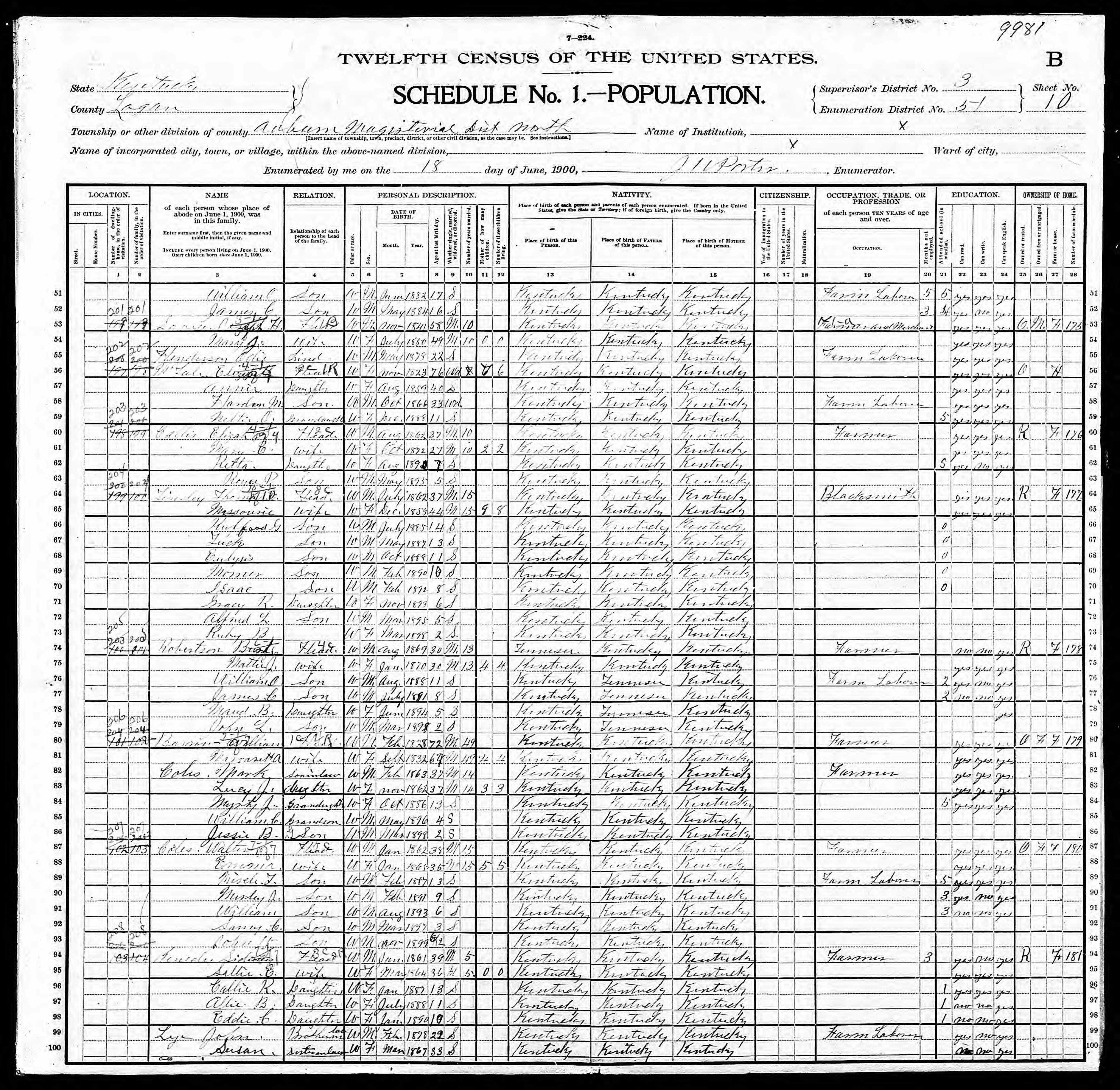 Elizabeth Mcfale discovered in 1900 United States Federal