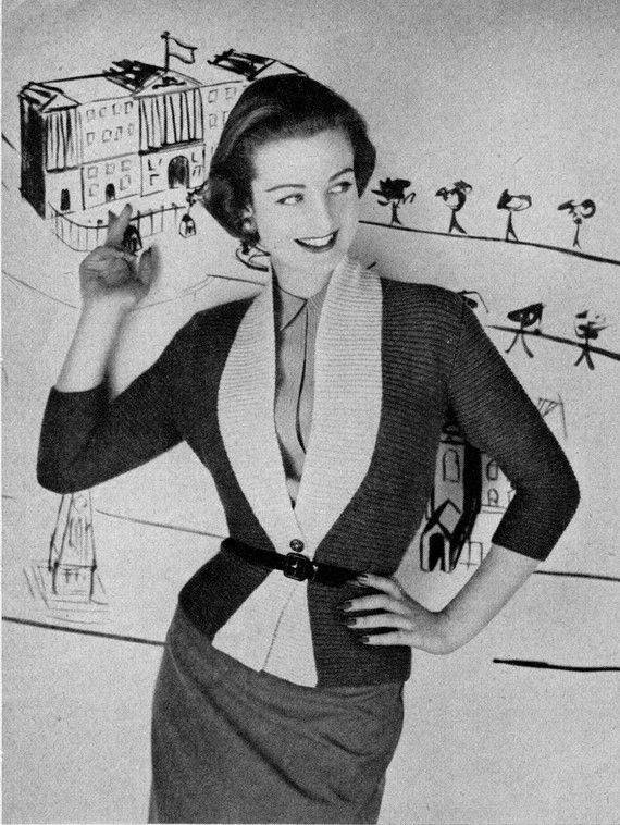 4bed966288f486 Women s 1950s Vintage Fitted Cardigan PDF KNITTING by Zafirah. Vintage  Knitting Pattern ...