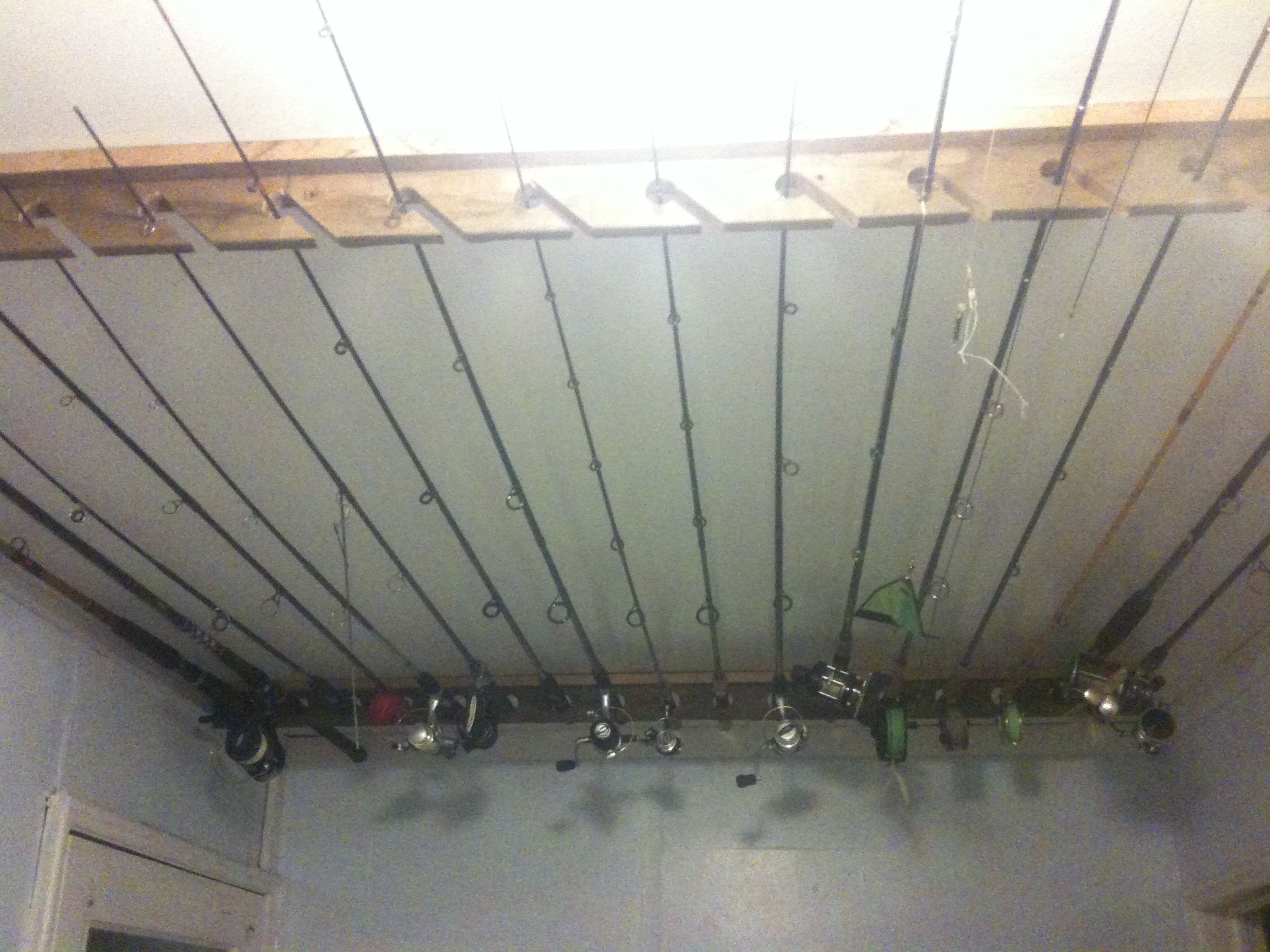 My Dad Made These Ceiling Mount Fishing Rod Racks For Me