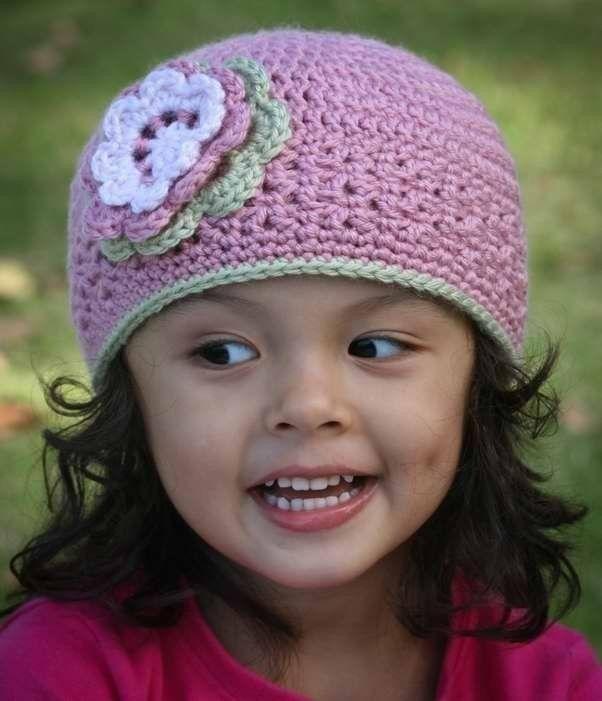 Free Crochet Patterns For Girl Beanies : Girls Blossom Beanie Crochet Hat Pattern No.202 Baby to ...