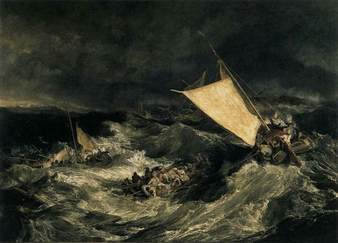 The Shipwreck, ca 1805, Joseph Mallord William Turner. English Romantic Painter (1775 - 1851)