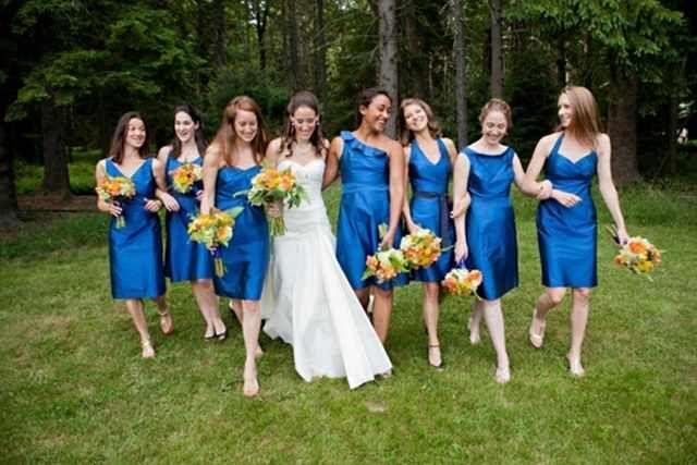 Robes de soirée courtes bleu pour mariage