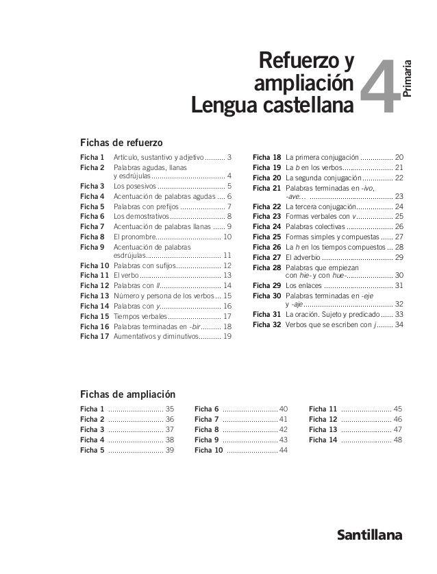 Primaria 4 Refuerzo y ampliación Lengua castellana Santillana Ficha ...