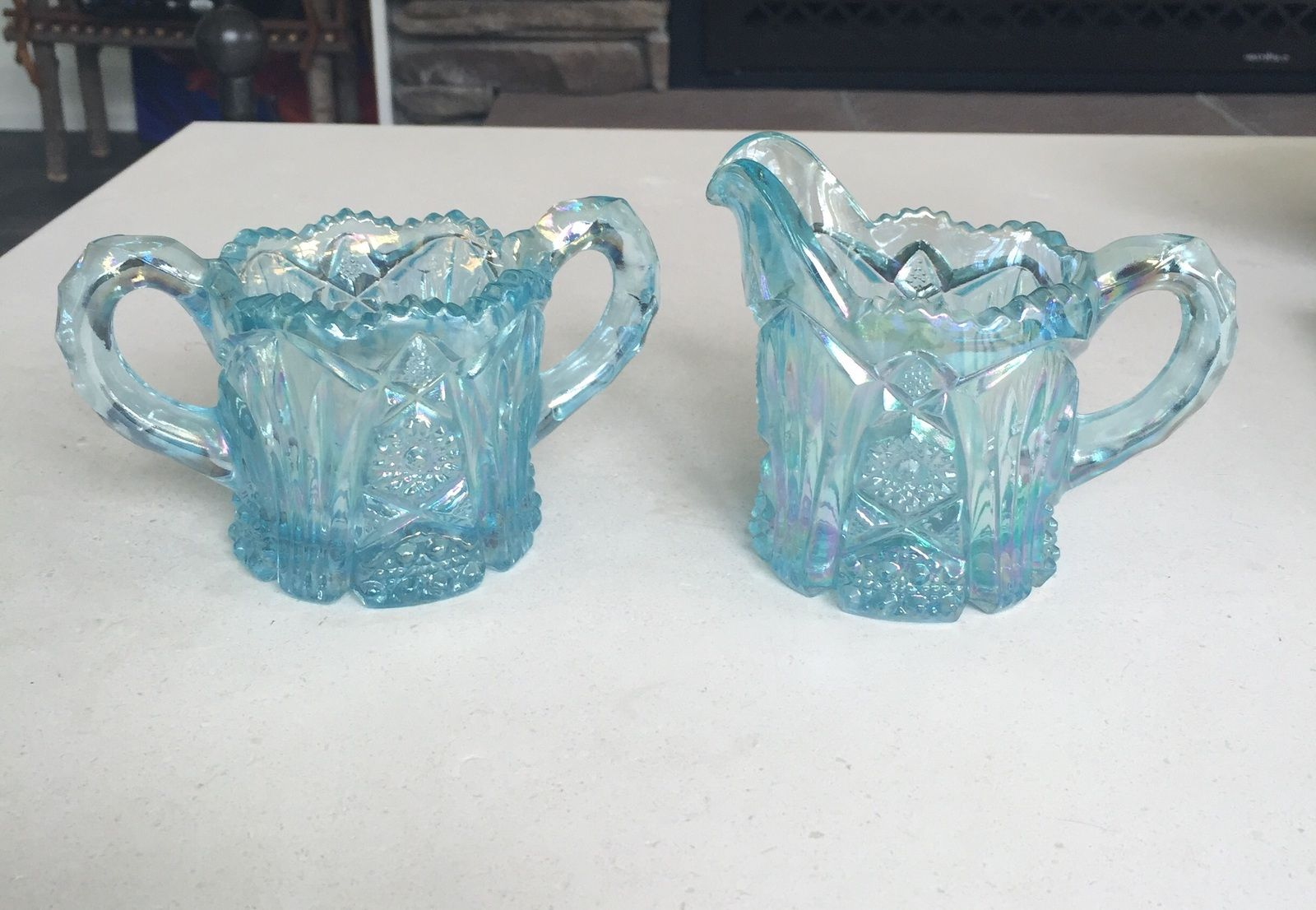 "GORGEOUS Vintage ""Imperial"" by Lenox Ice Blue Creamer and sugar bowl SALE $35 ..  these are so pretty!"
