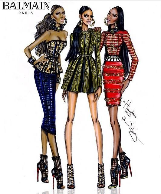 Rihanna, Chanel Iman and Naomi Campbell in Balmain Paris