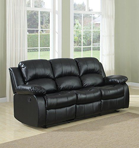 3 Seat Sofa Double Recliner Black Brown Bonded Leather Https