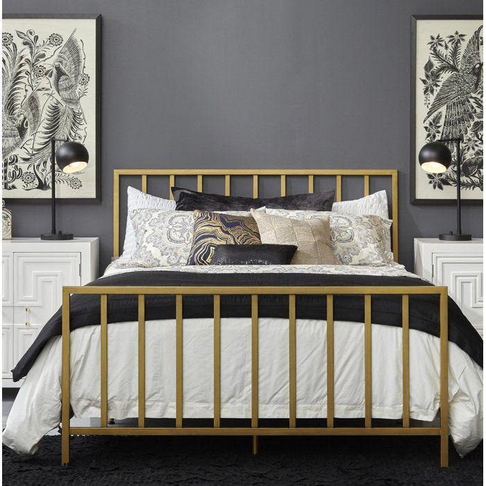 Best Ackles Slat Metal Queen Panel Bed Queen Metal Bed Gold 400 x 300