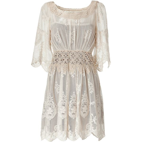 ALBERTA FERRETTI Champagne 3/4 Sleeve Embroidered Dress (1,700 CAD)  - from yellyjelly's polyvore