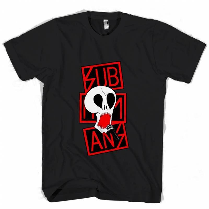 Subhumans Red Logo And Skull Man s Tee T Shirt