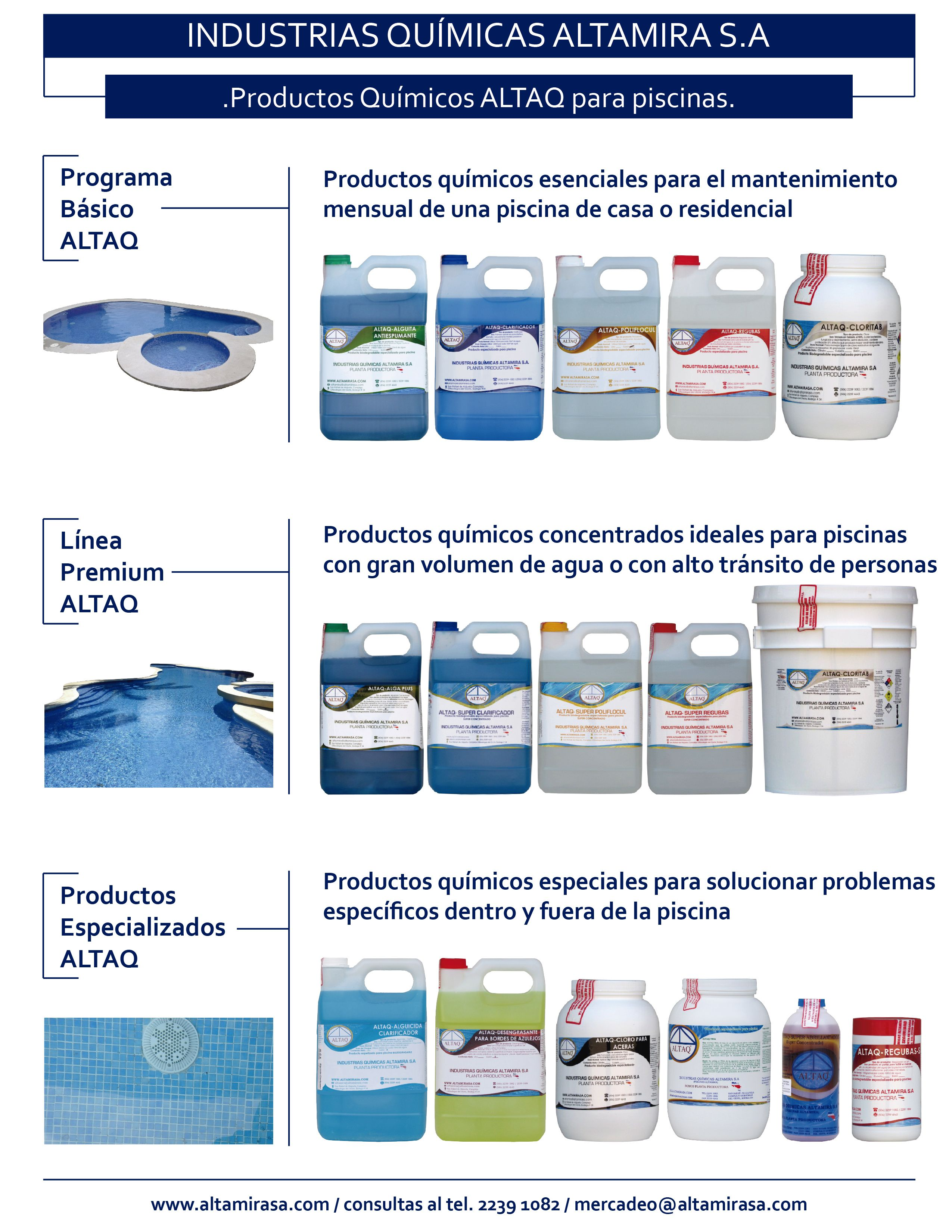 Productos para piscinas capacitaci n altaq productos for Productos para piscinas