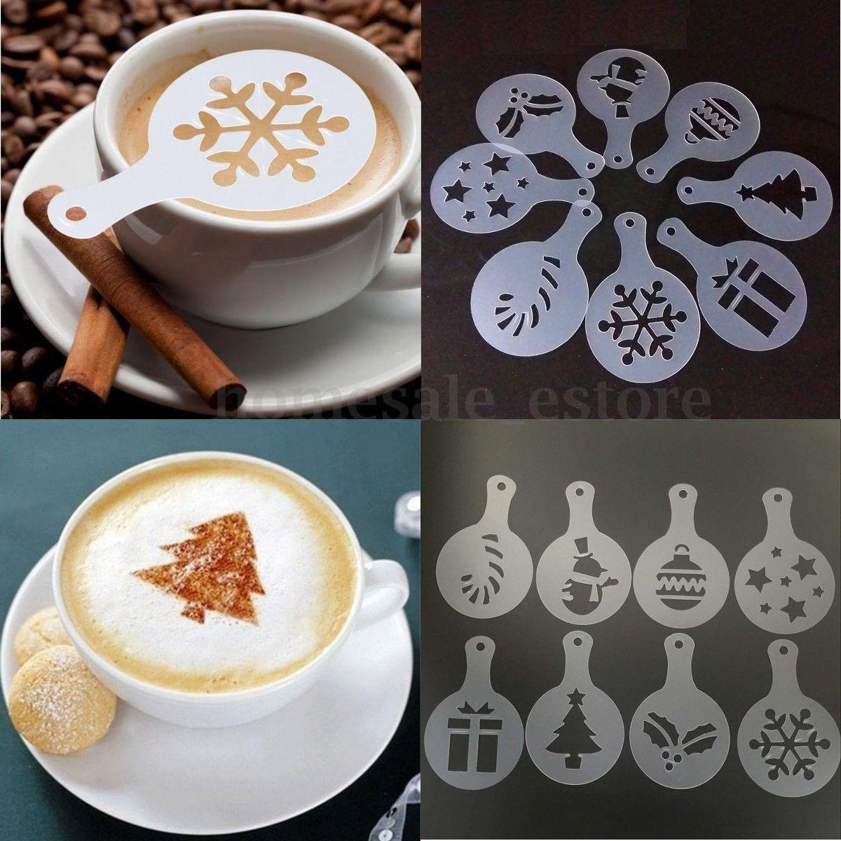 1.12 - 8Pcs Fashion Cappuccino Coffee Barista Stencils Template Strew Pad  Duster Spray  ebay   51d0dd05357d