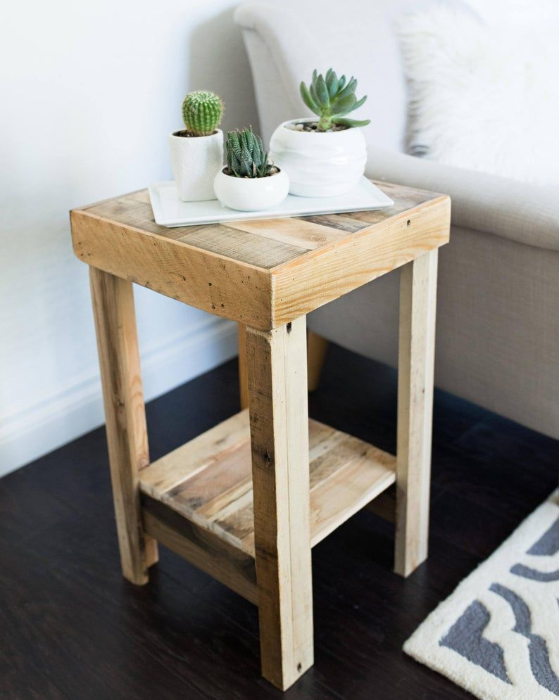 Reclaimed Wood Side Table In Provincial Nightstand End Accent Entry Small Bedside Walnut Beach House Cabin Stand Dorm Loft Entry Accent In 2020 Reclaimed Wood Side Table Reclaimed Wood Nightstand Wood
